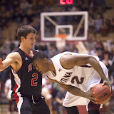 Montana Grizzly Kareem Jamar gets his head into the game.  Dahlberg Arena in Missoula, Mont., January 3rd, 2013.