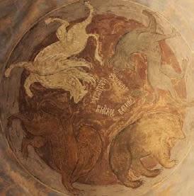 В иконографической композиции Страшного суда Андрея Рублёва медведь, согласно видению пророка Даниила, символизирует погибельное Вавилонское царство