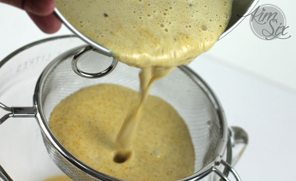 Straining custard for creme brulee