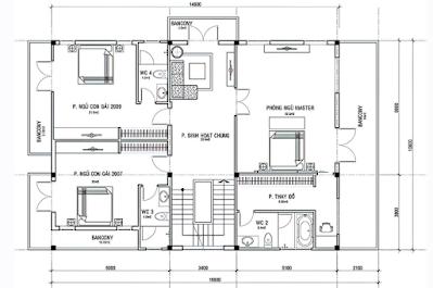 bản vẽ mẫu nhà thiết kế đẹp, sang trọng 3 tầng, 5 phòng ngủ