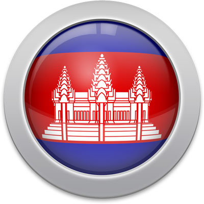 Cambodian flag icon with a silver frame