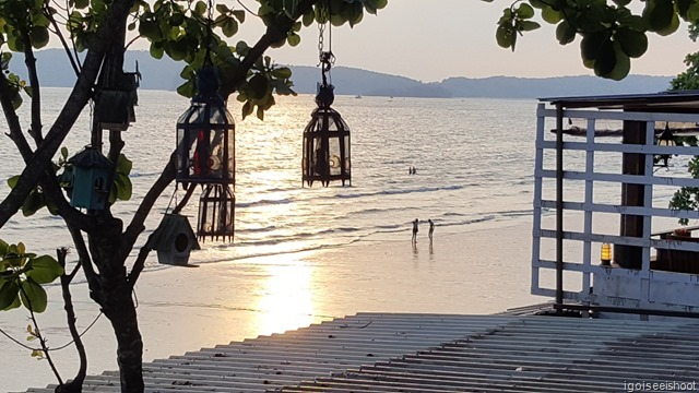 View of the sunset and Ao Nang beach from the second floor terrace of the Long-tailed Boat Restaurant.