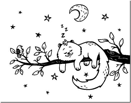 gato dormido en rama para colorear