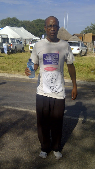 Okavango Half Marathon finisher (he ran in socks)