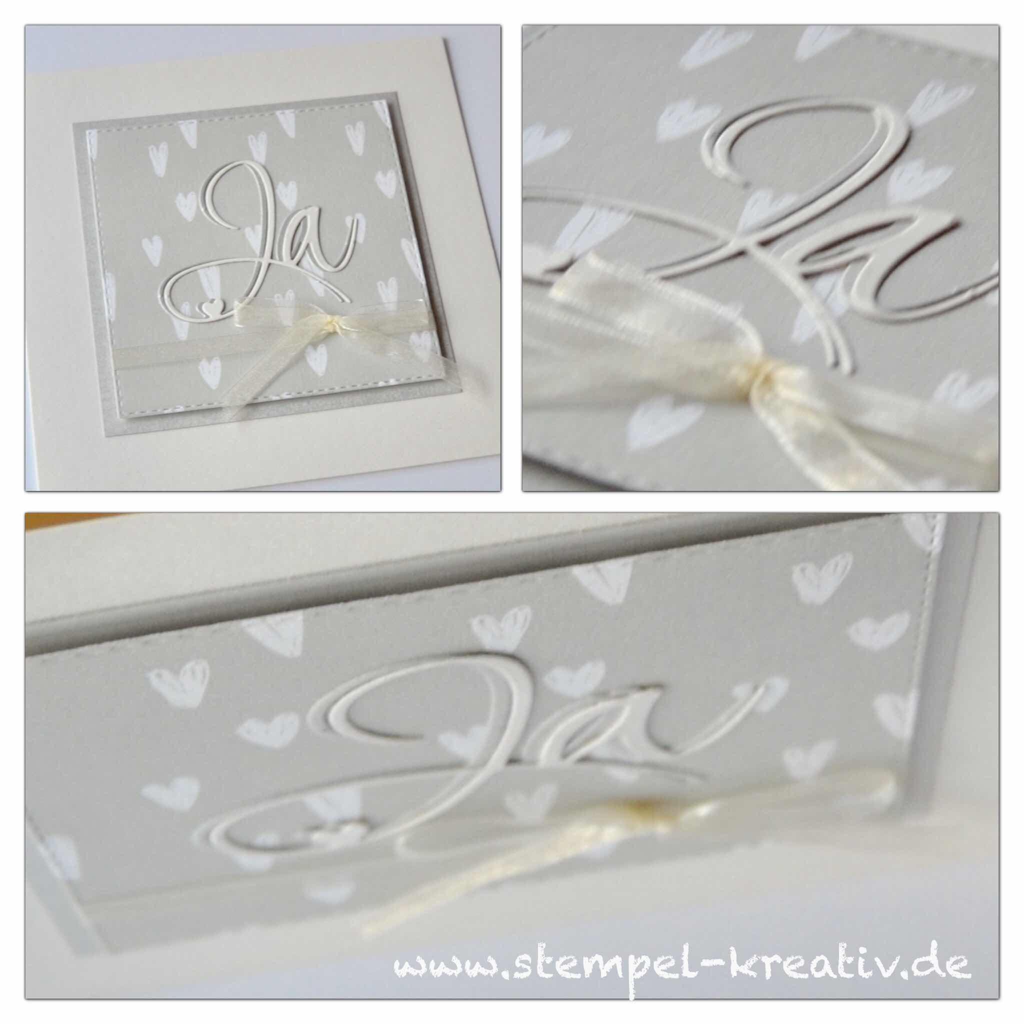 Hochzeitskarte Weiße Herzen Ja