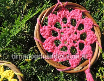 Atrapasueños al crochet. www.tirnanogduendes.com.ar