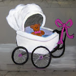 Baby Carriage Gray and Pink ARTY PARTY.JPG