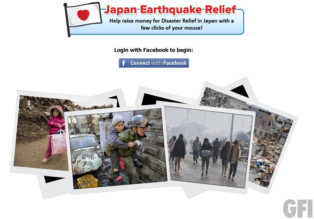 "Japan Earthquake Relief"" and ""Young girl commits suicide"" Facebook"