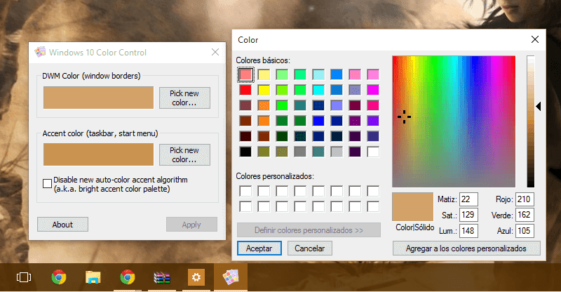 Personalizar COlor windows 10