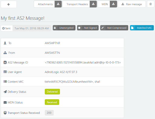 Detailed message view with diagnostic info