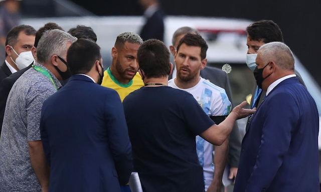 Anvisa paralisa jogo entre Brasil e Argentina; partida é encerrada.
