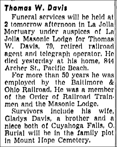 DAVIS_Thomas W_obit_13 Apr 1952_SanDiegoUnion_CA
