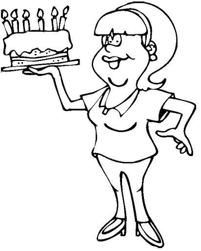 Pinto Dibujos: Mamá con pastel de cumpleaños para colorear