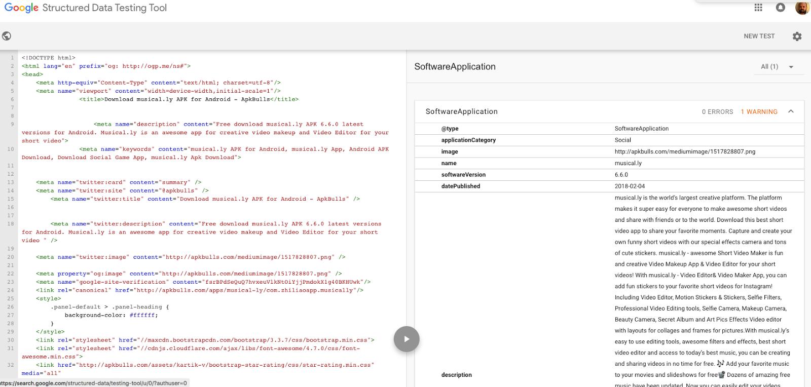 Structured Data Testing Tool returning No errors, Warning