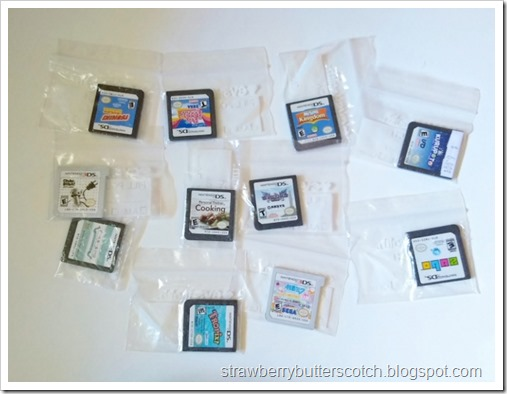 A bunch of Nintendo DS and 3DS game carts stored in tiny ziplock bags, they are actually pill pouches.