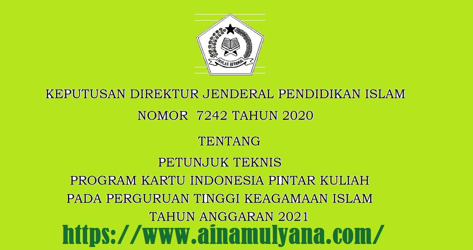 Juknis  Program KIP Kuliah Pada PTKI (Perguruan Tinggi Keagamaan Islam) Tahun 2021