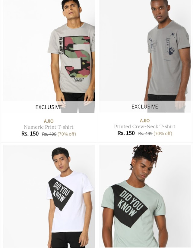 Ajio - Buy T-Shirts at Just Rs. 150 Only