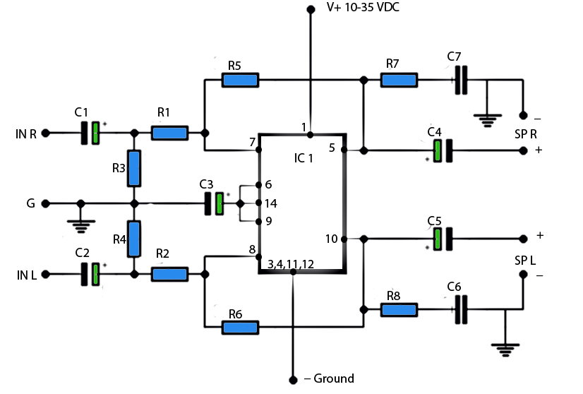 6 watt stereo power amplifier schematic