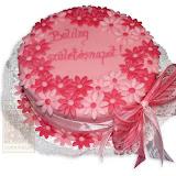 40. kép: Ünnepi torták - Rózsaszín virágos születésnapi torta