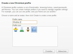 Chrome Profile erstellen