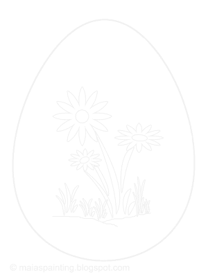 Easter egg with daisies - printable coloring page 6