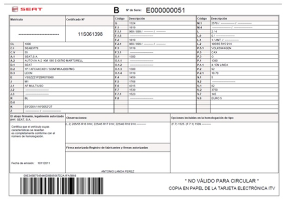 Nueva tarjeta electrónica de características técnicas (eITV)