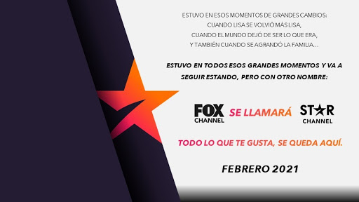⭐ FOX Channel en Febrero pasará a llamarse Star Channel