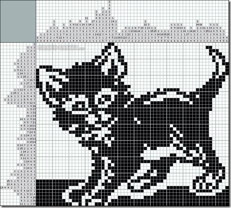 siluetas gatos punto de cruz monocromo  (16)