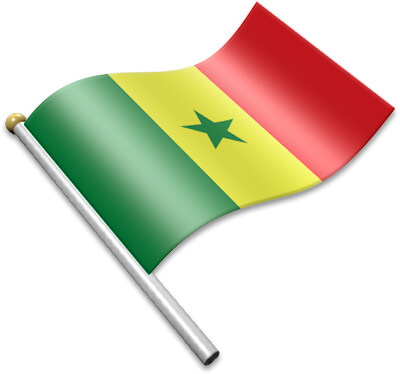 The Senegalese flag on a flagpole clipart image