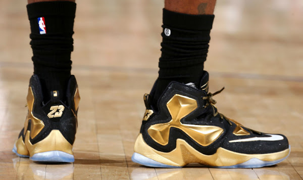 King James Wears Pure Gold LeBron 13 PE in Win at MSG