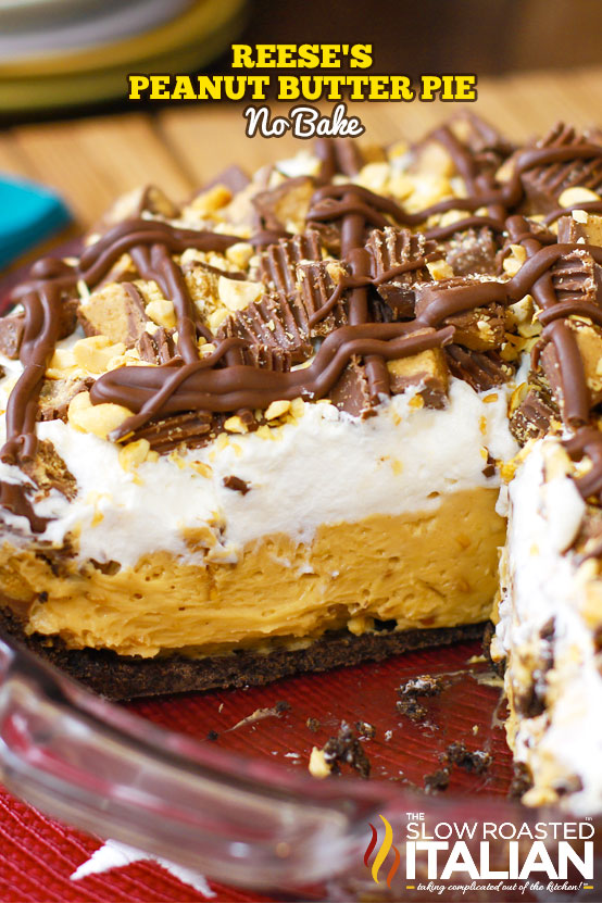 reese's peanut butter pie in pie pan with slice cut out