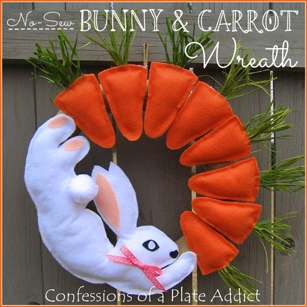 CONFESSIONS OF A PLATE ADDICT No-Sew Bunny & Carrot Wreath