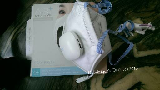 The Air+ Smart Mask with the Air+ Micro Ventilator attached.