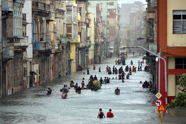 Wide shot of flooding in Havana, Cuba, in the aftermath of Hurricane Irma, which wrought terrible destruction across the Caribbean in 2017. Photo: Rolando Pujol / OCHA EFE