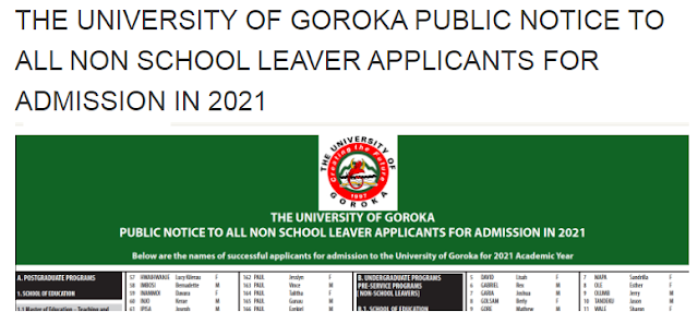UOG 2021 non school leavers selection list pdf