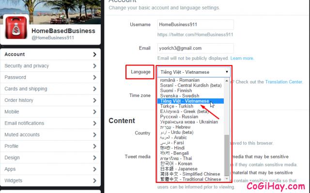 thay đổi ngôn ngữ tài khoản twitter