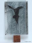 """""""Mensch"""", Glas, Schwarzlot bemalt, gebrannt, Glas struckturiert 2005/09"""