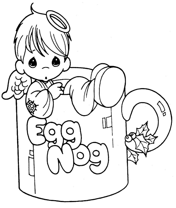 little angel in a cup free precious moments coloring pages
