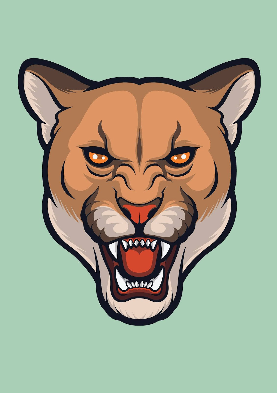 Cougar Angry Face Puma Concolor Free Download Vector CDR, AI, EPS and PNG Formats