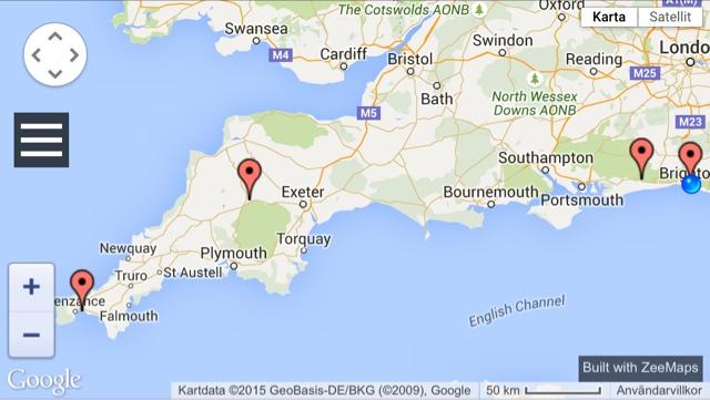 karta södra england .skånskaslott.se: På vägen mot Cornwall karta södra england