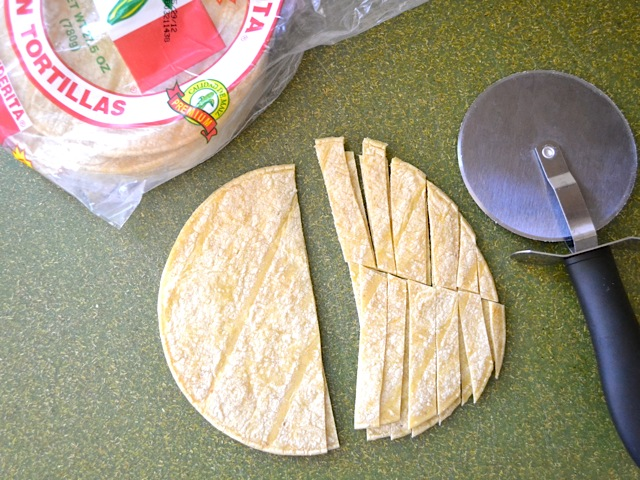slice tortillas