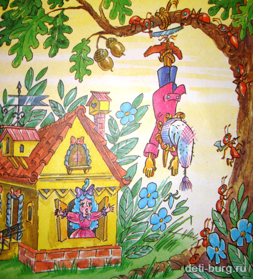 Разбойники подвесили Буратирно на дерево