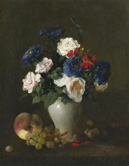 Antoine Vollon - Assorted flowers in a vase with grapes and a peach on a table