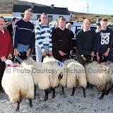 Winners of the Pen of 2 Ewe Lambs class (Open) at the 21st Achill Sheep Show (Taispeántas Caorach Acla 2007) at Pattens Bar, Derreens Achill was from left John Nolan, Newport (assisted by Pat Chambers); 2nd Pat and Tom Muchrone and 3rd Martin McGlynn, assisted by Thomas McLoughlin. Photo: © Michael Donnelly