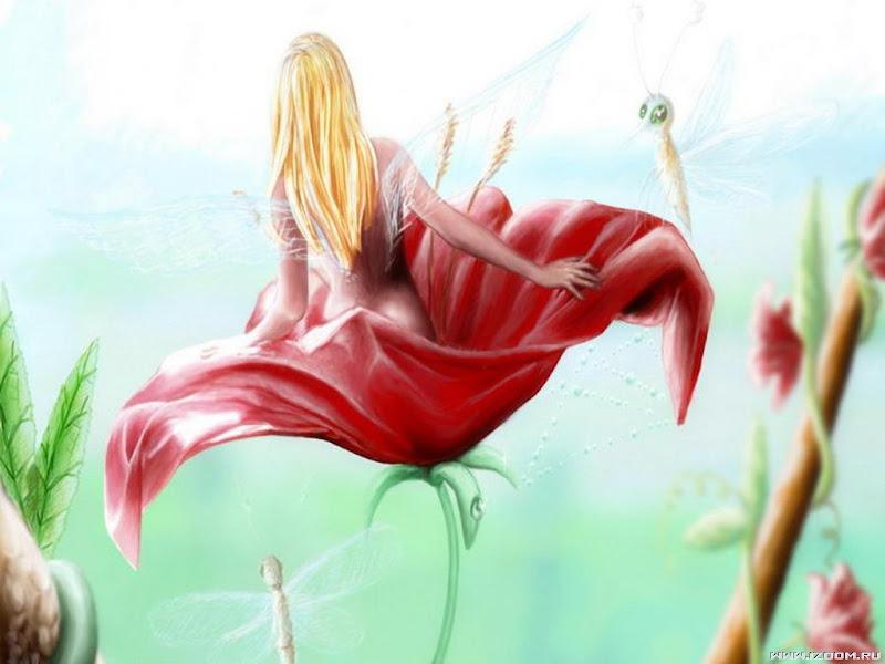 Little Fairy In The Red Flower, Fairies Girls 2