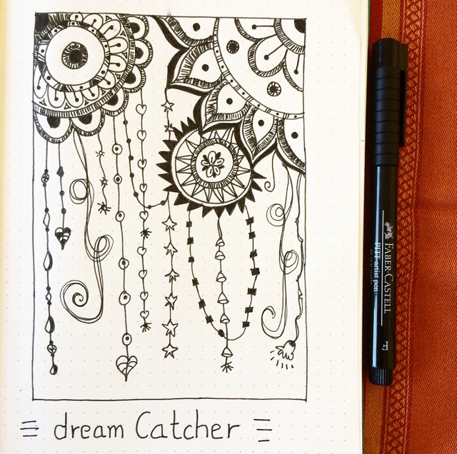 #100DaysOfDoodles | Day 21 | Dream Catcher Doodle | The 100 Day Project 2017