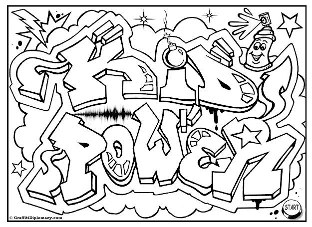 Kid Power Free Graffiti Coloring Page Free Printable Colouring Sheet