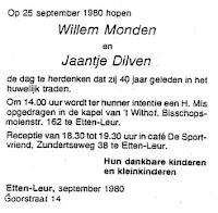 Monden, Wilhelmus en Dilven, Jaantje Huwelijk 40 jaar.jpg