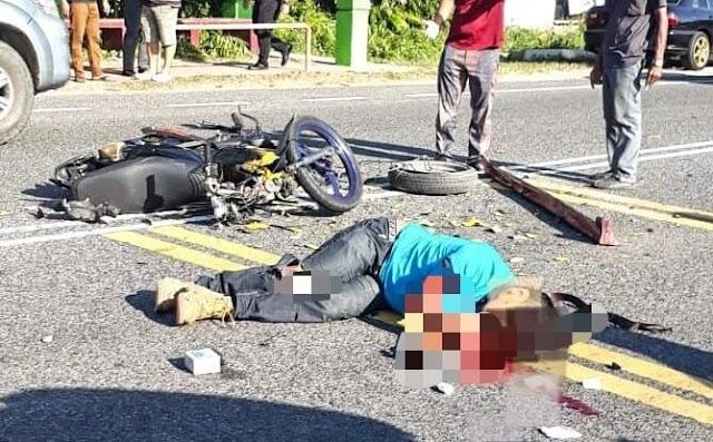Penunggang motosikal maut langgar kereta buat pusingan U