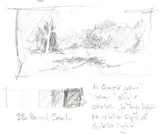 simple pencil notan sketch